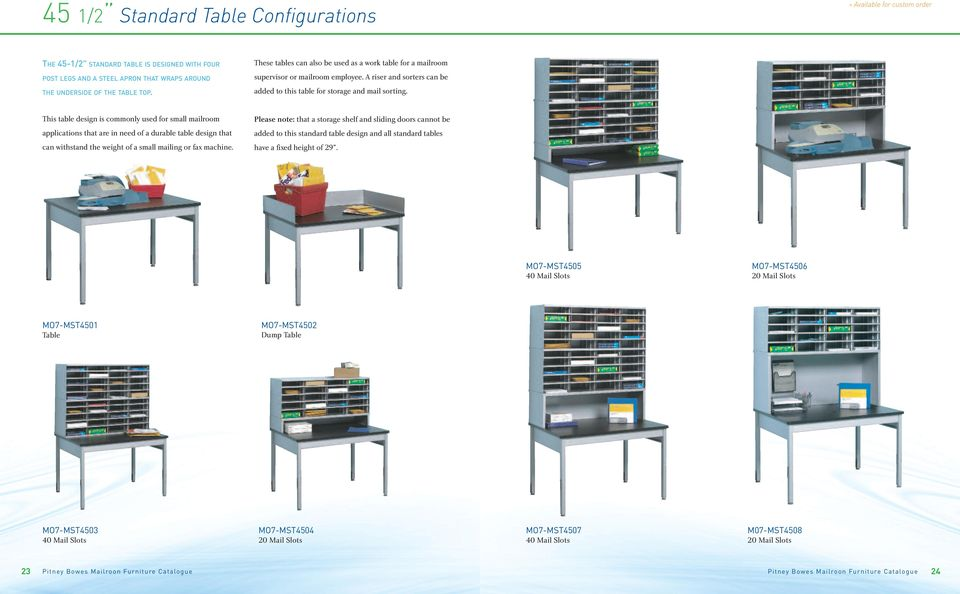 This table design is commonly used for small mailroom applications that are in need of a durable table design that can withstand the weight of a small mailing or fax machine.