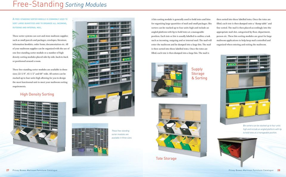 All of your mailroom supplies can be organized with the use of one free-standing sorter module or a number of high density sorting modules placed side-by-side, back-to-back or positioned around a