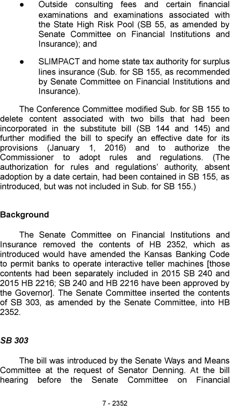 The Conference Committee modified Sub.