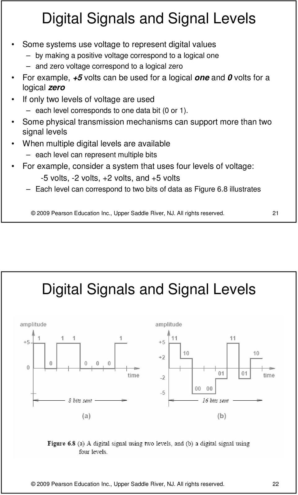 Some physical transmission mechanisms can support more than two signal levels When multiple digital levels are available each level can represent multiple bits For example, consider a system that