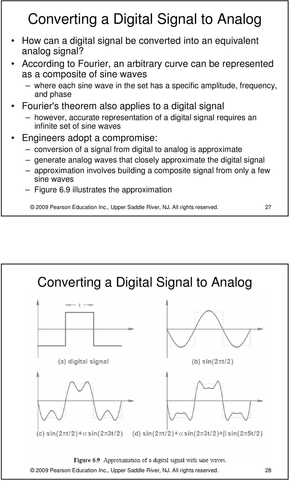 to a digital signal however, accurate representation of a digital signal requires an infinite set of sine waves Engineers adopt a compromise: conversion of a signal from digital to analog is