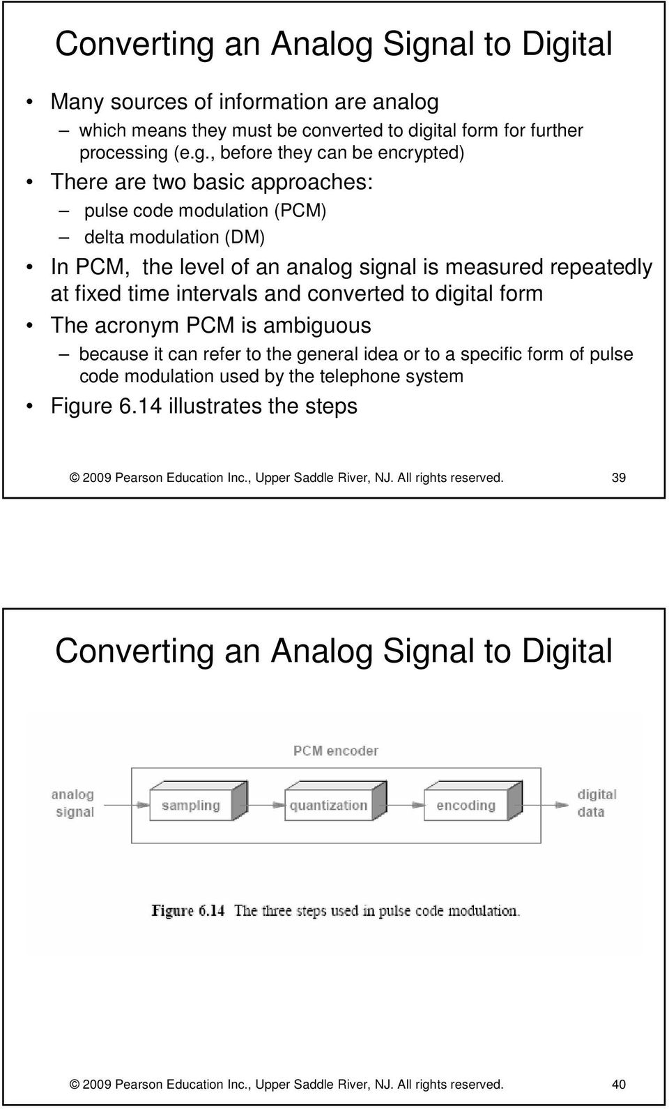 Signal to Digital Many sources of information are analog which means they must be converted to digital form for further processing (e.g., before they can be encrypted) There are two basic