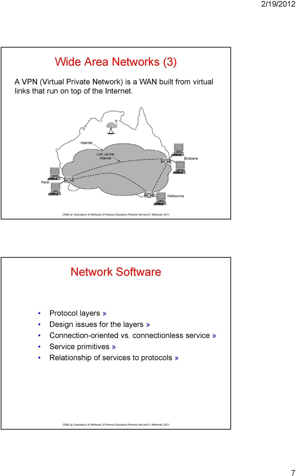 Network Software Protocol layers» Design issues for the layers»