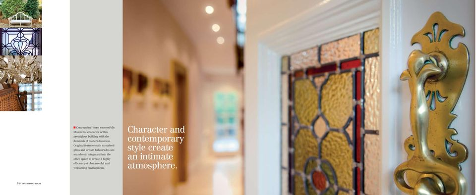 Original features such as stained glass and ornate balustrades are seamlessly integrated into