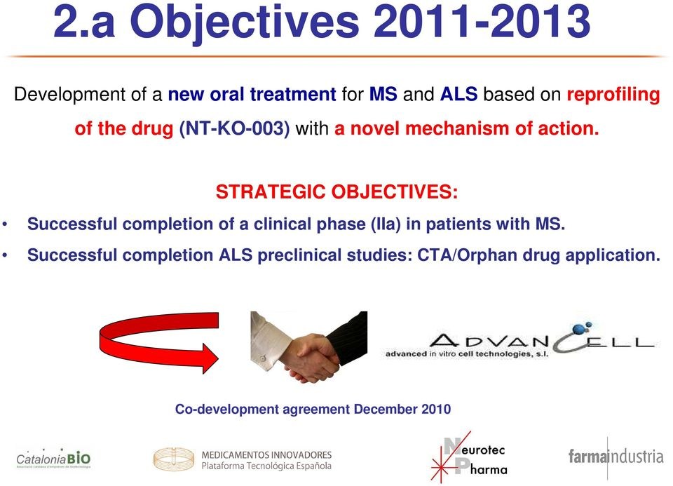 STRATEGIC OBJECTIVES: Successful completion of a clinical phase (IIa) in patients with MS.