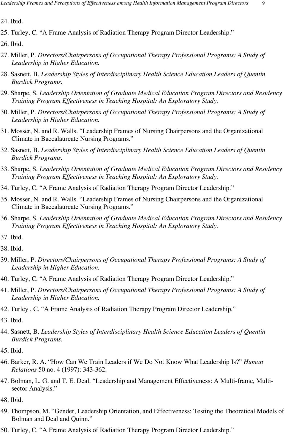 Leadership Styles of Interdisciplinary Health Science Education Leaders of Quentin Burdick Programs. 29. Sharpe, S.