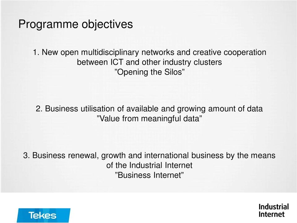 industry clusters Opening the Silos 2.