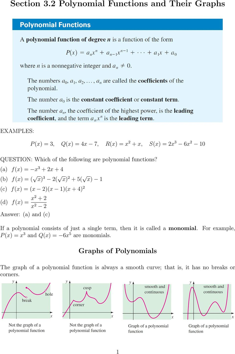 following are polynomial functions?