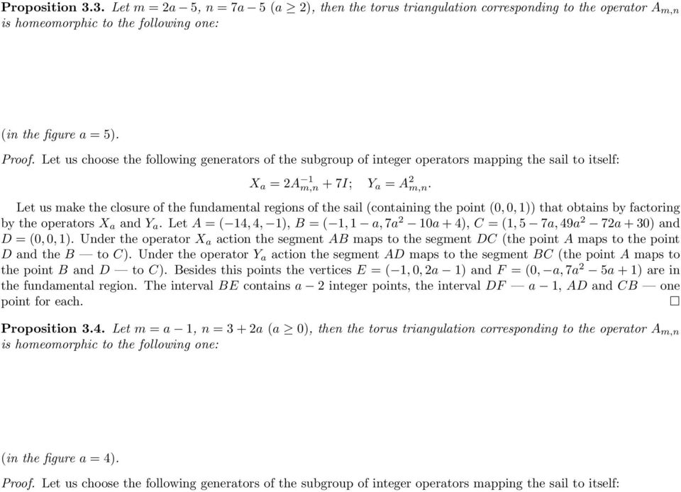Let us make the closure of the fundamental regions of the sail (containing the point (0, 0, 1)) that obtains by factoring by the operators X a and Y a.