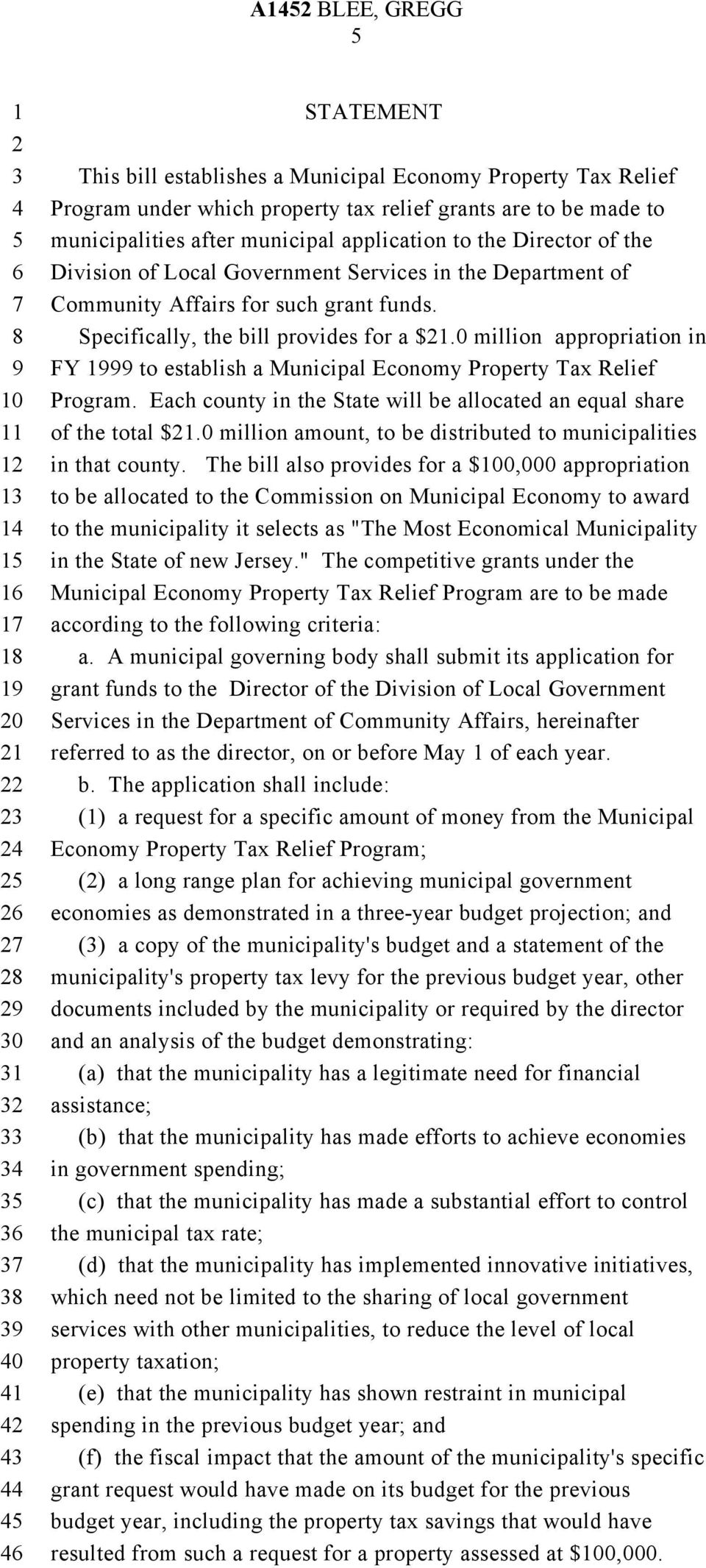 0 million appropriation in FY to establish a Municipal Economy Property Tax Relief Program. Each county in the State will be allocated an equal share of the total $.