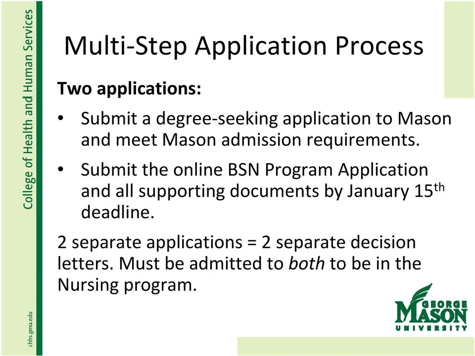 Submit the online BSN Program Application and all supporting documents by January 15