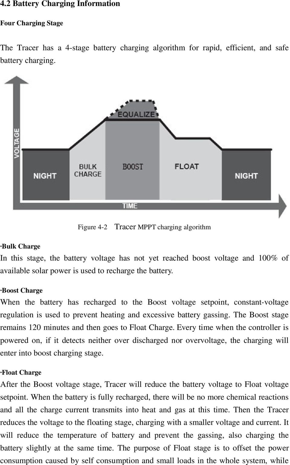 Boost Charge When the battery has recharged to the Boost voltage setpoint, constant-voltage regulation is used to prevent heating and excessive battery gassing.