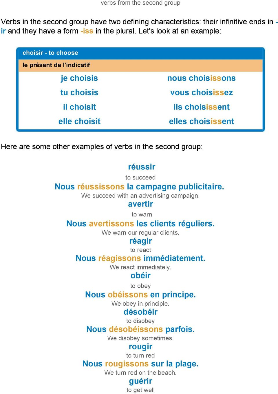 other examples of verbs in the second group: réussir to succeed Nous réussissons la campagne publicitaire. We succeed with an advertising campaign.