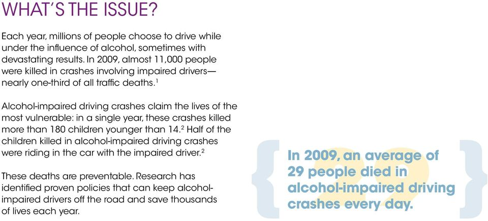 1 alcohol-impaired driving crashes claim the lives of the most vulnerable: in a single year, these crashes killed more than 180 children younger than 14.