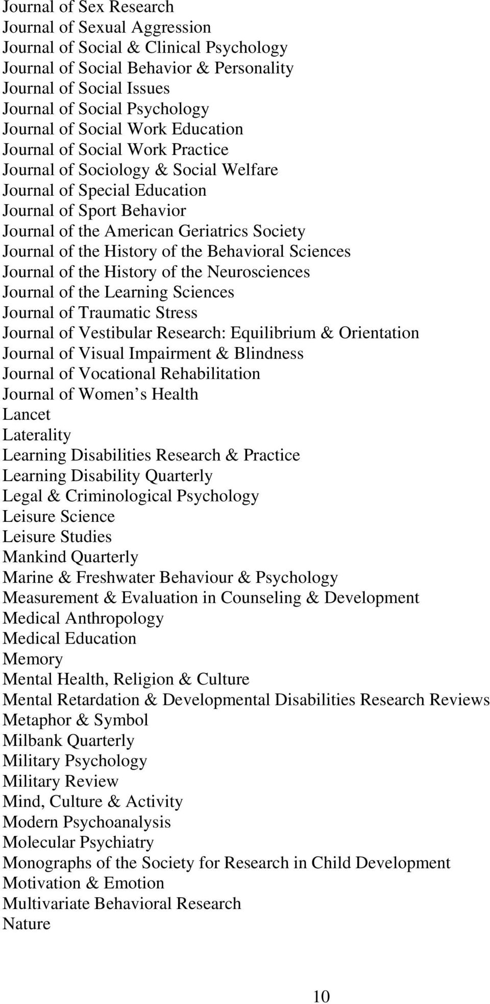 of the History of the Behavioral Sciences Journal of the History of the Neurosciences Journal of the Learning Sciences Journal of Traumatic Stress Journal of Vestibular Research: Equilibrium &