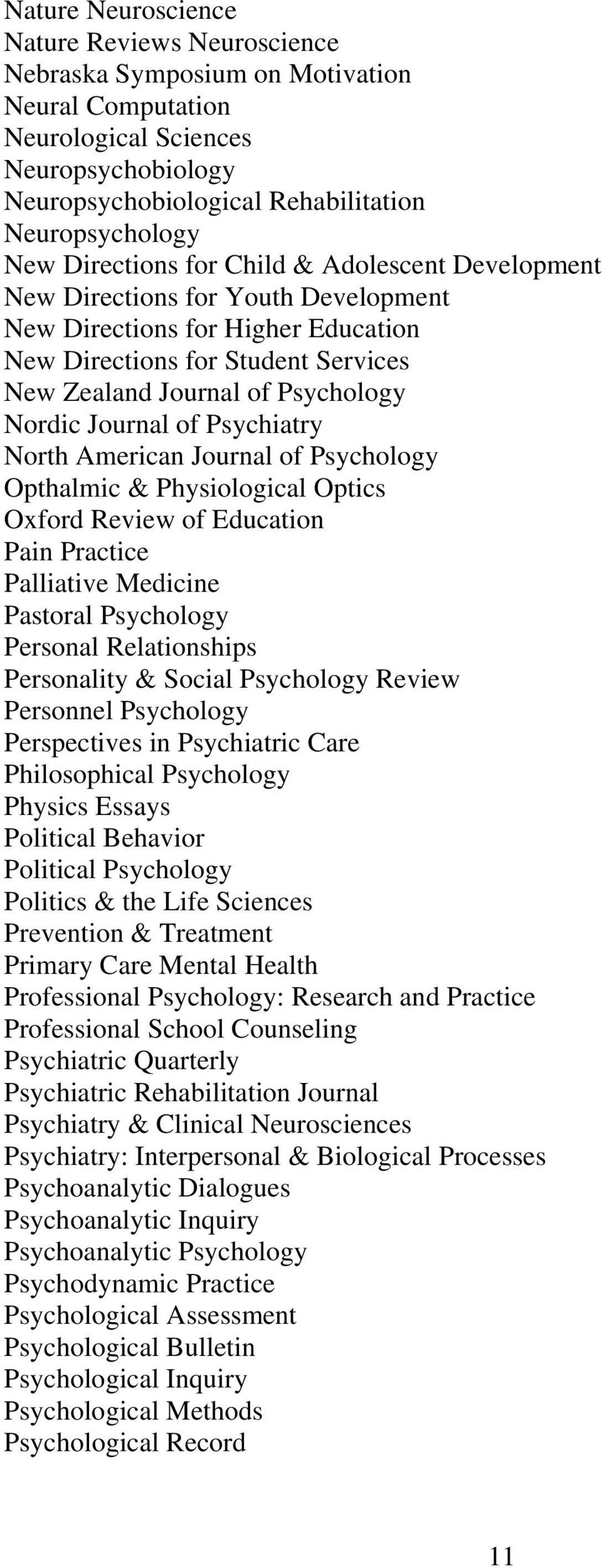 Journal of Psychiatry North American Journal of Psychology Opthalmic & Physiological Optics Oxford Review of Education Pain Practice Palliative Medicine Pastoral Psychology Personal Relationships
