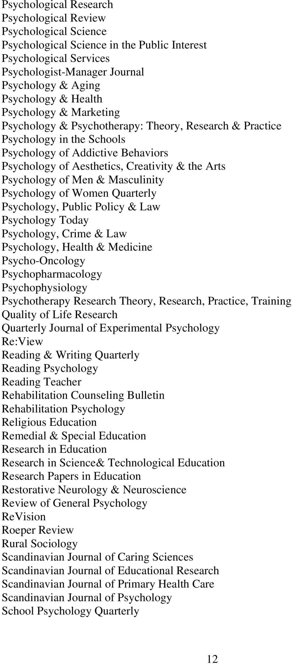 Psychology of Men & Masculinity Psychology of Women Quarterly Psychology, Public Policy & Law Psychology Today Psychology, Crime & Law Psychology, Health & Medicine Psycho-Oncology Psychopharmacology