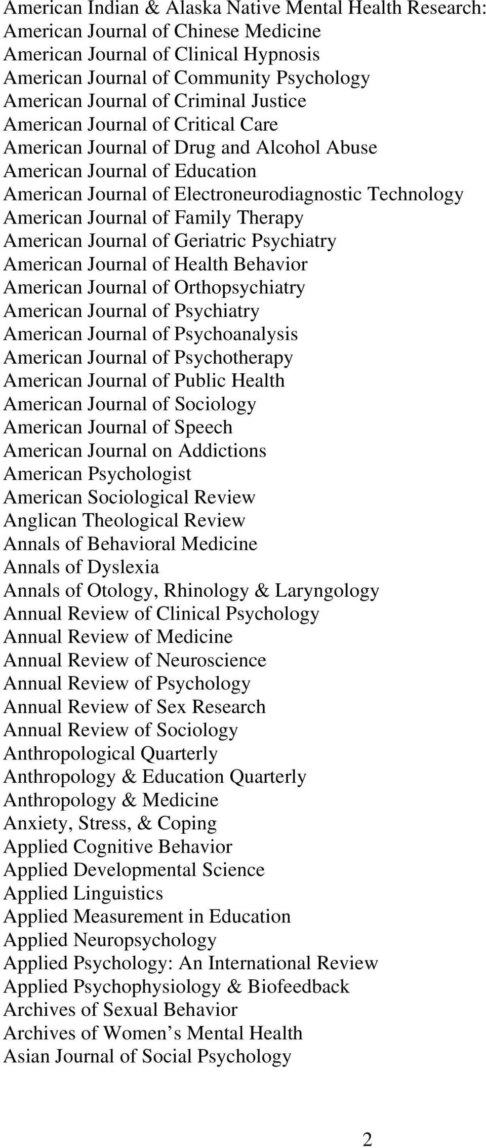 Family Therapy American Journal of Geriatric Psychiatry American Journal of Health Behavior American Journal of Orthopsychiatry American Journal of Psychiatry American Journal of Psychoanalysis