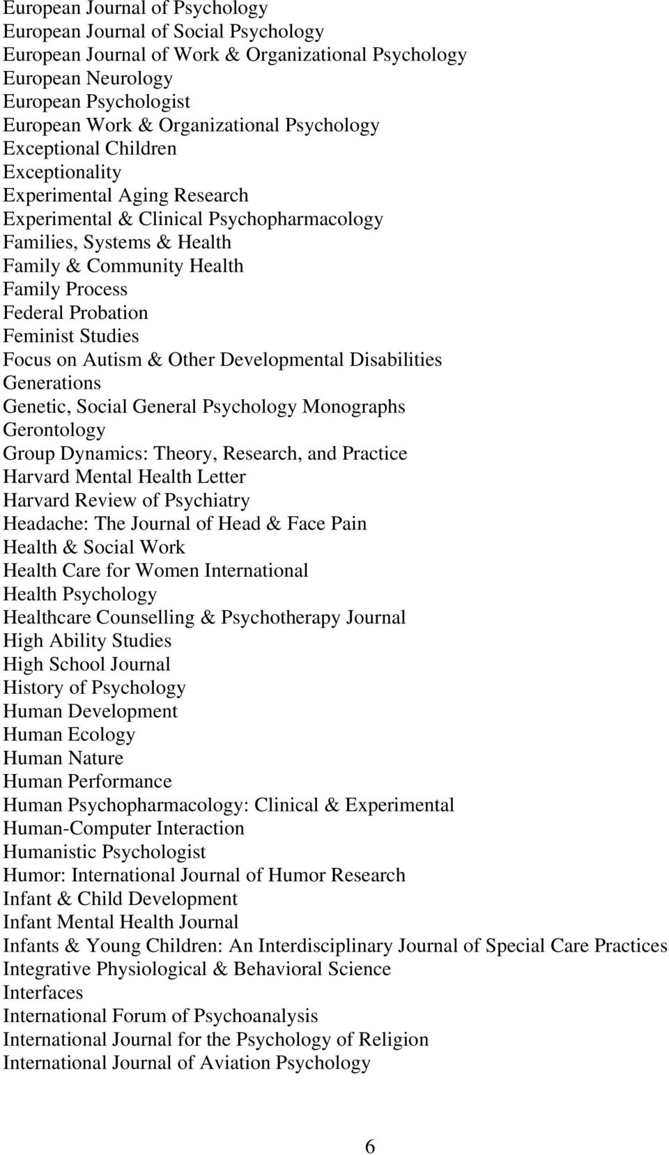 Probation Feminist Studies Focus on Autism & Other Developmental Disabilities Generations Genetic, Social General Psychology Monographs Gerontology Group Dynamics: Theory, Research, and Practice