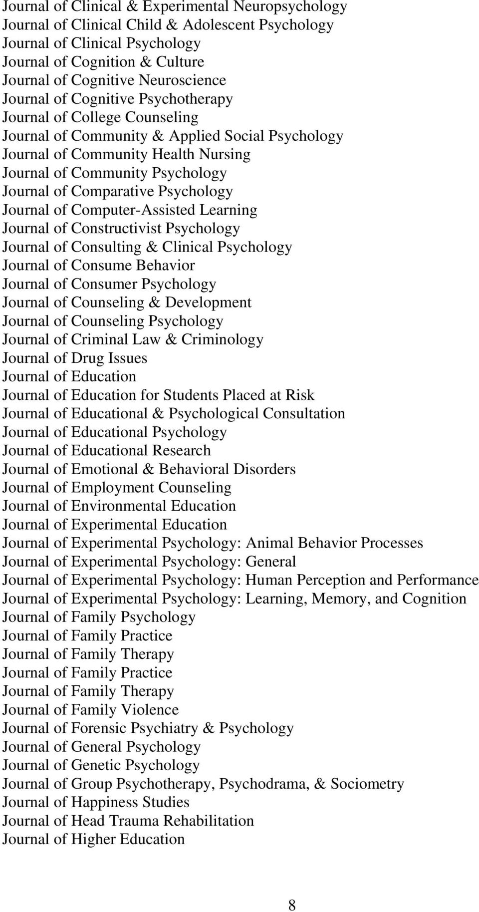 Comparative Psychology Journal of Computer-Assisted Learning Journal of Constructivist Psychology Journal of Consulting & Clinical Psychology Journal of Consume Behavior Journal of Consumer