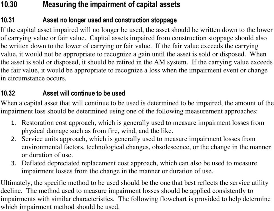 Capital assets impaired from construction stoppage should also be written down to the lower of carrying or fair value.