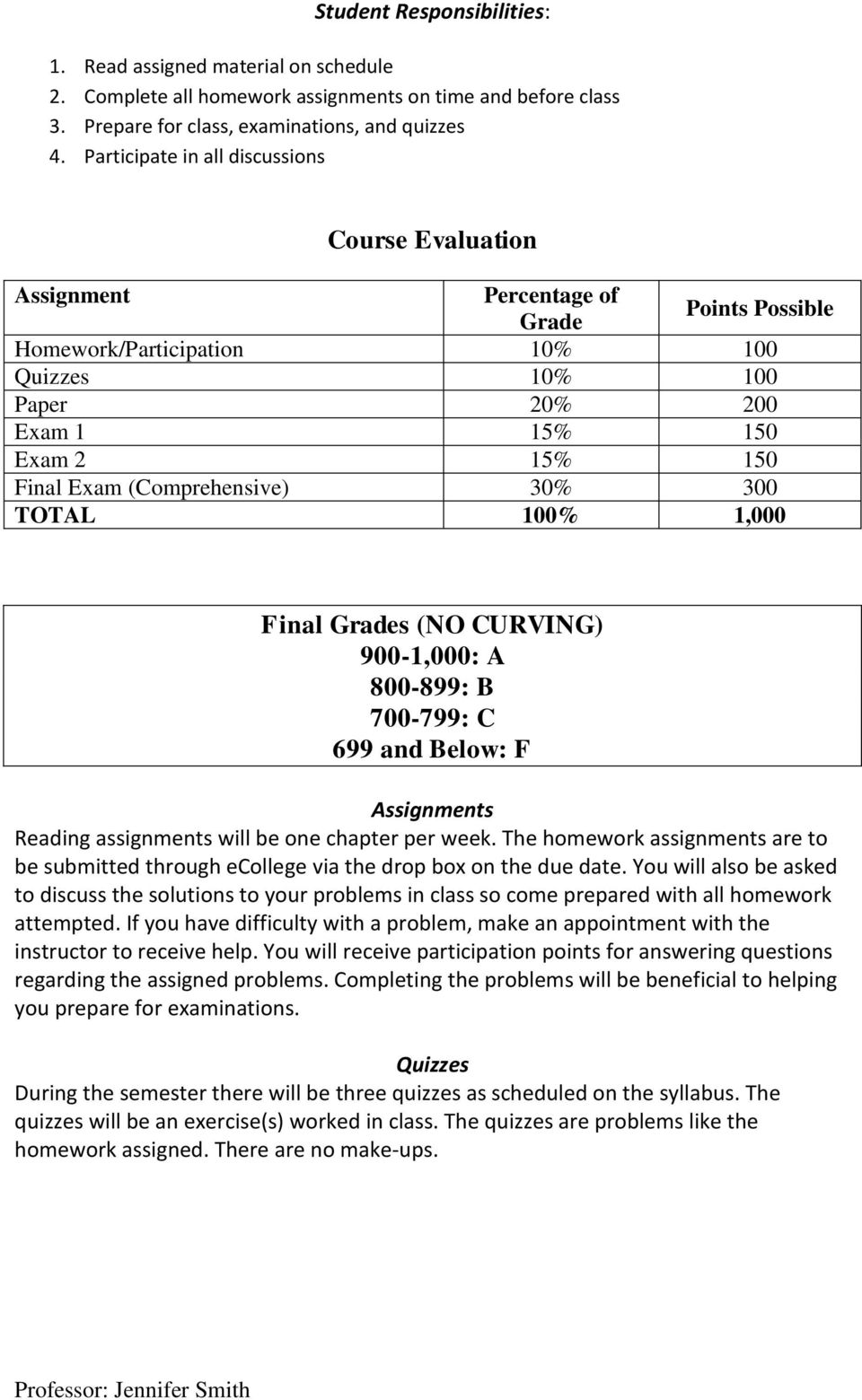 (Comprehensive) 30% 300 TOTAL 100% 1,000 Final Grades (NO CURVING) 900-1,000: A 800-899: B 700-799: C 699 and Below: F Assignments Reading assignments will be one chapter per week.