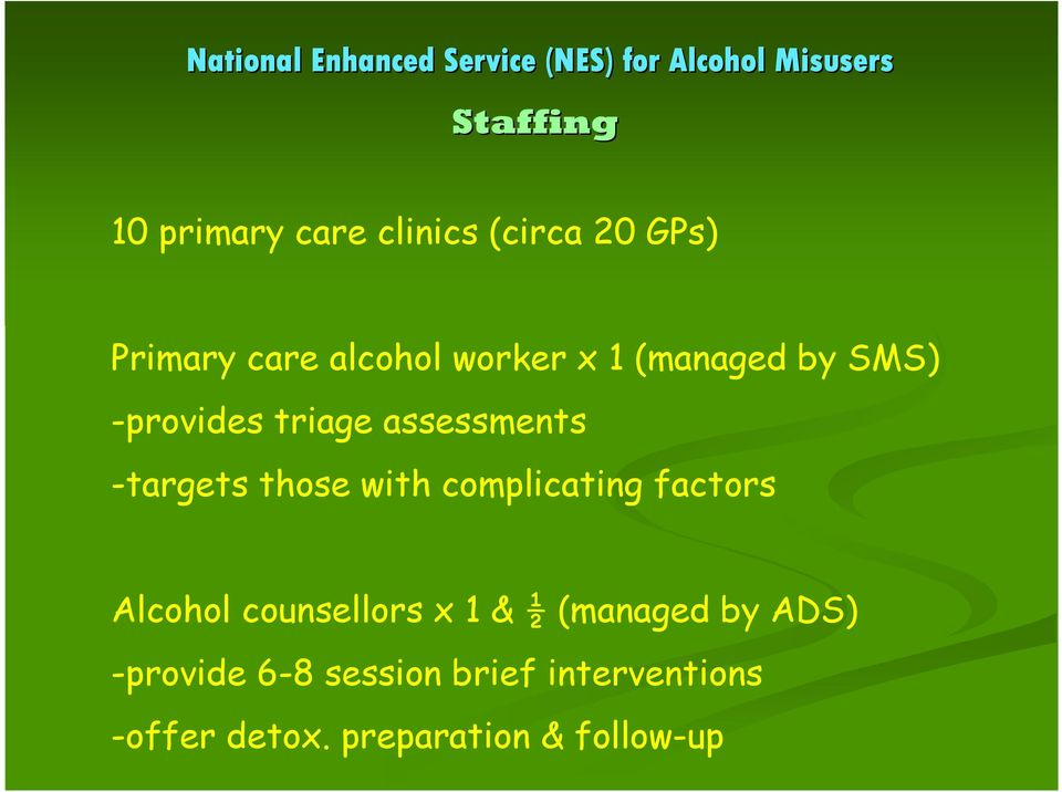 with complicating factors Alcohol counsellors x 1 & ½ (managed by ADS)