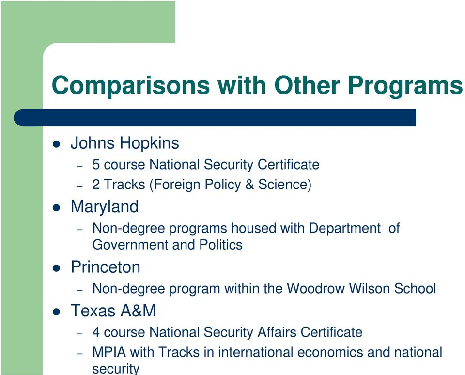and Politics Princeton Non-degree program within the Woodrow Wilson School Texas A&M 4 course