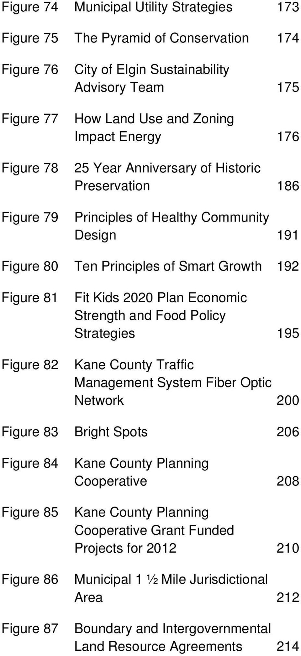 2020 Plan Economic Strength and Food Policy Strategies 195 Kane County Traffic Management System Fiber Optic Network 200 Figure 83 Bright Spots 206 Figure 84 Figure 85 Figure 86 Figure 87 Kane