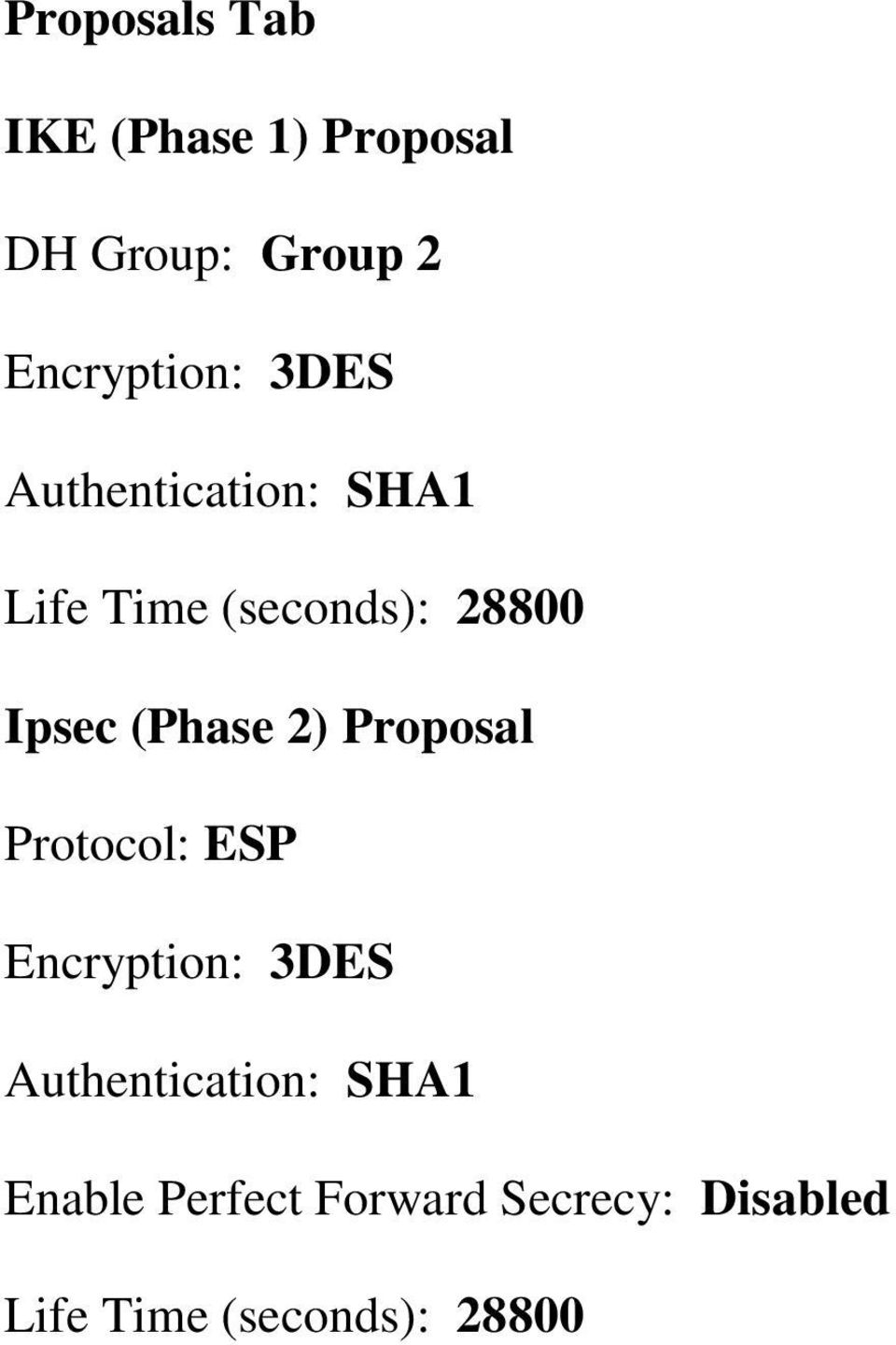 Ipsec (Phase 2) Proposal Protocol: ESP Encryption: 3DES