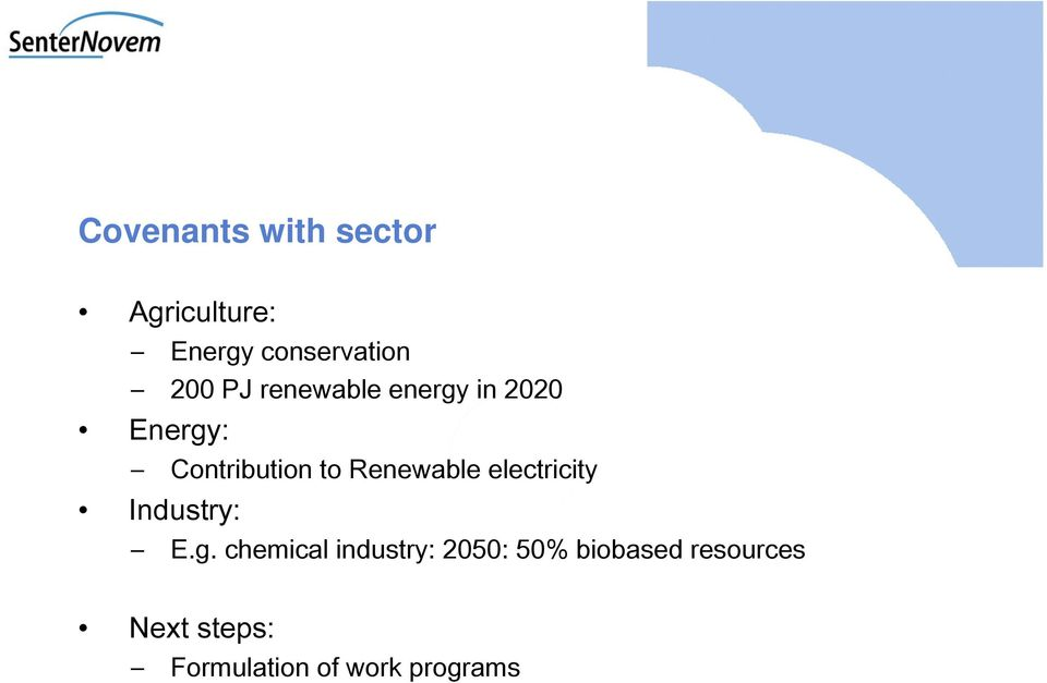 Renewable electricity Industry: E.g.