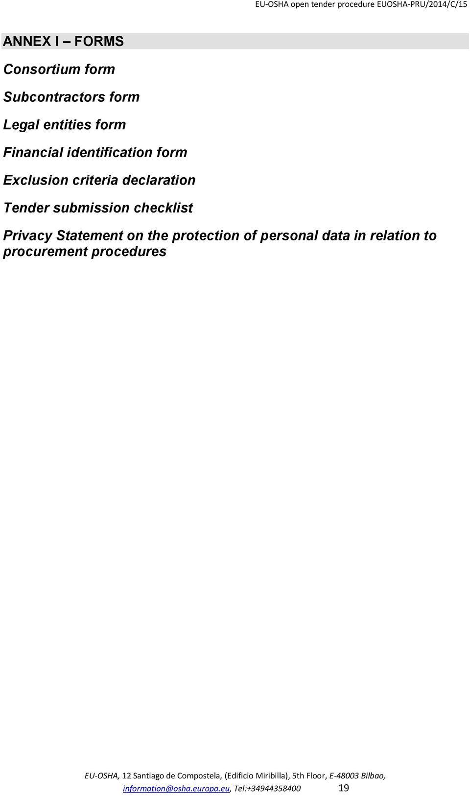 submission checklist Privacy Statement on the protection of personal data