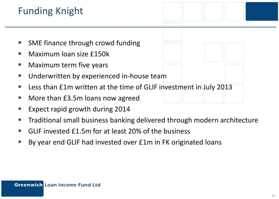 5m loans now agreed Expect rapid growth during 2014 Traditional small business banking delivered through modern