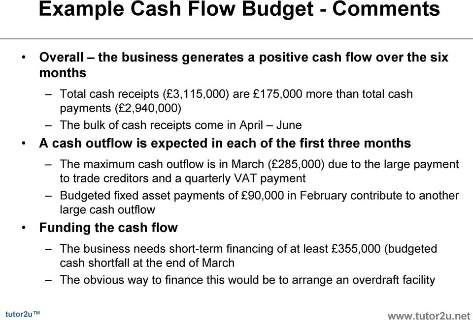 due to the large payment to trade creditors and a quarterly VAT payment Budgeted fixed asset payments of 90,000 in February contribute to another large cash outflow Funding the