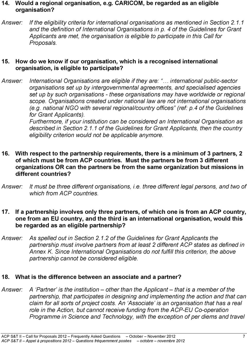 How do we know if our organisation, which is a recognised international organisation, is eligible to participate?