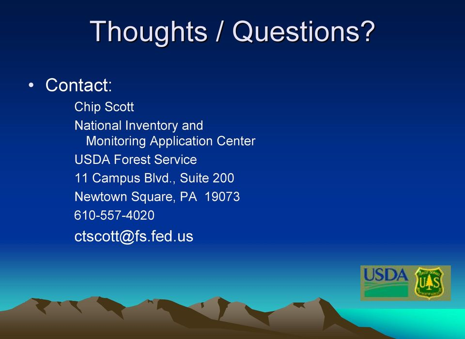 Monitoring Application Center USDA Forest Service