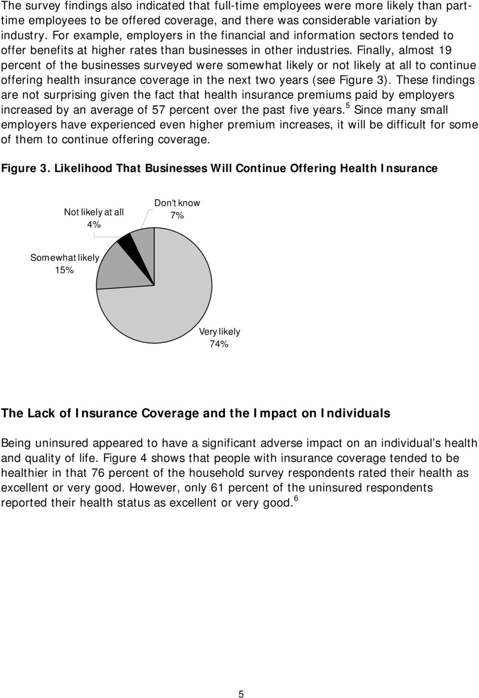 Finally, almost 19 percent of the businesses surveyed were somewhat likely or not likely at all to continue offering health insurance coverage in the next two years (see Figure 3).