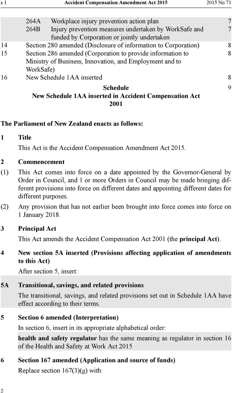 WorkSafe) 16 New Schedule 1AA inserted 8 Schedule New Schedule 1AA inserted in Accident Compensation Act 2001 9 The Parliament of New Zealand enacts as follows: 1 Title This Act is the Accident
