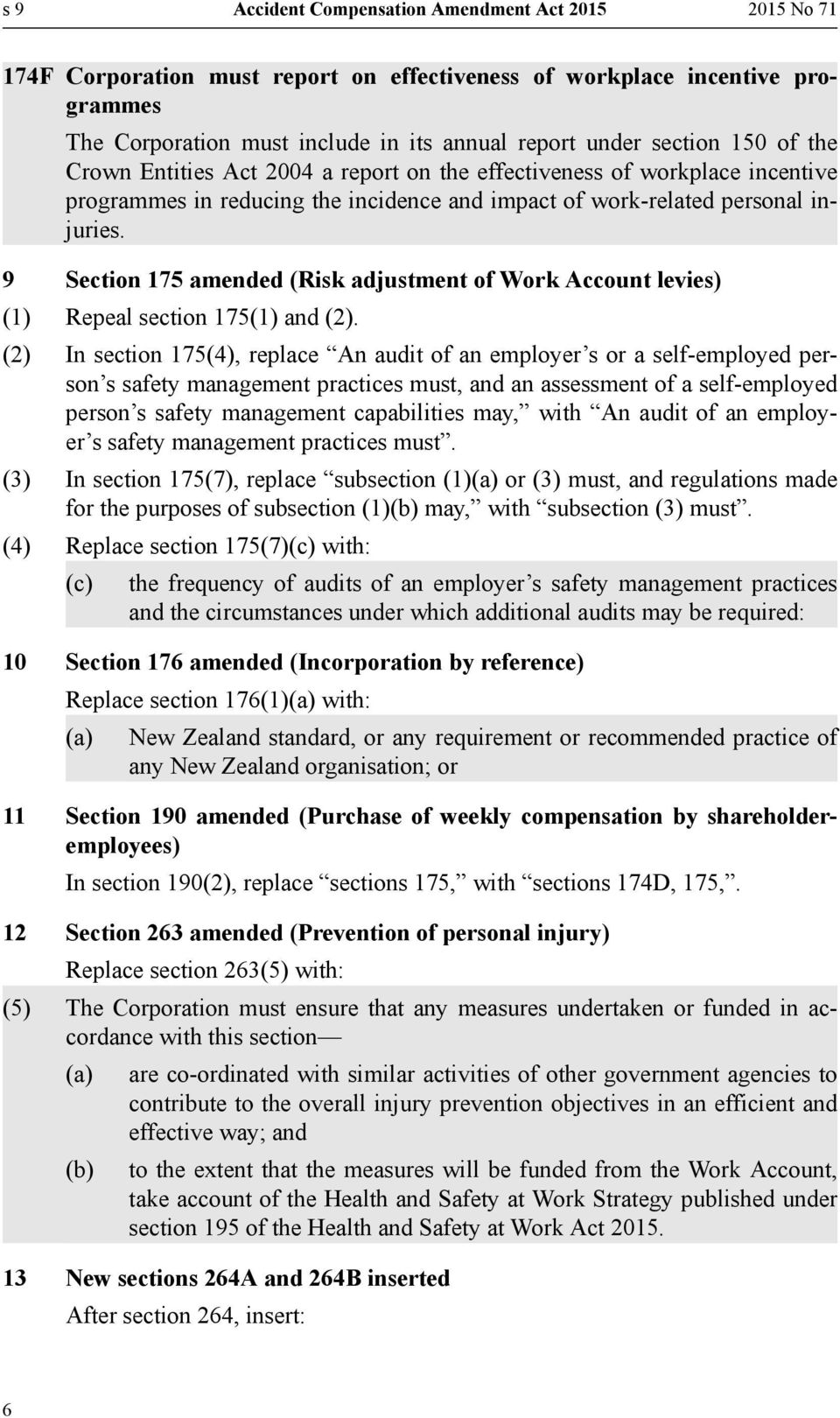 9 Section 175 amended (Risk adjustment of Work Account levies) (1) Repeal section 175(1) and (2).