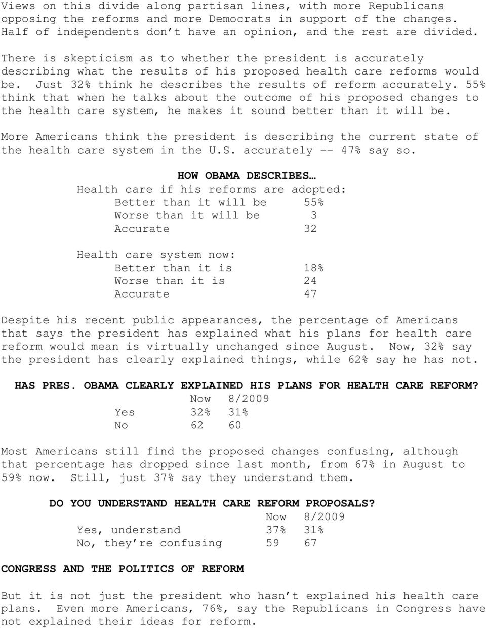 There is skepticism as to whether the president is accurately describing what the results of his proposed health care reforms would be. Just 32% think he describes the results of reform accurately.
