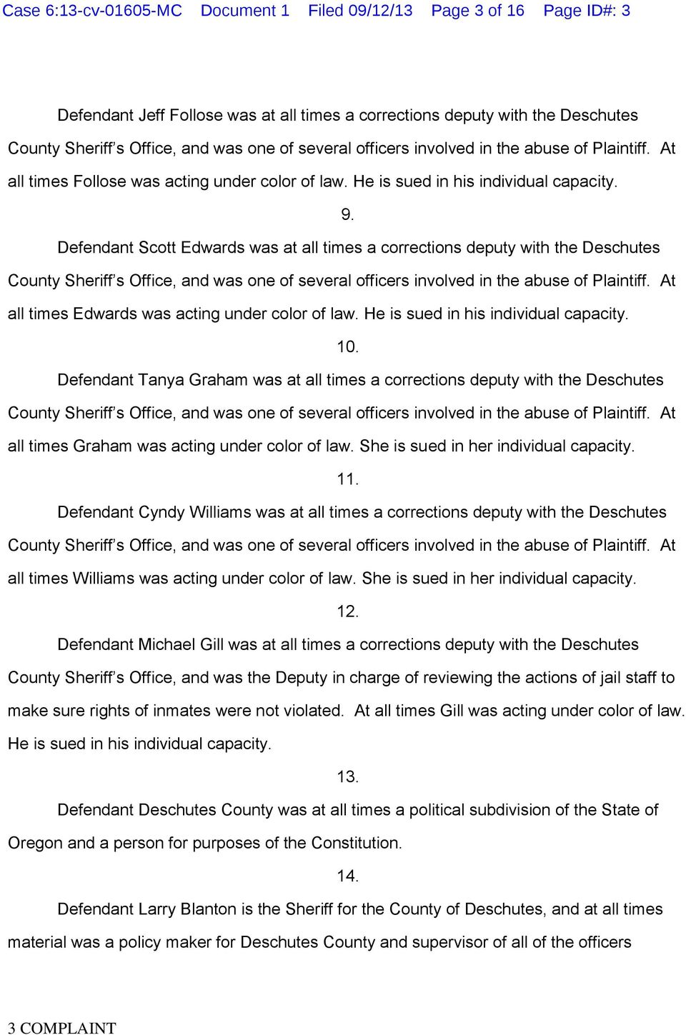 Case 6:13-cv MC Document 1 Filed 09/12/13 Page 1 of 16 Page