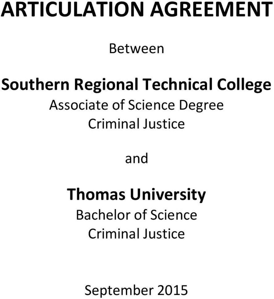 Science Degree Criminal Justice and Thomas