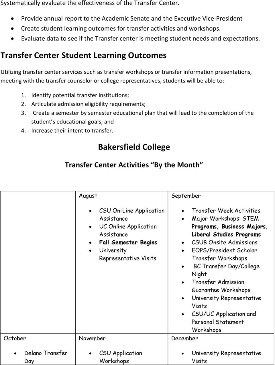 Evaluate data to see if the Transfer center is meeting student needs and expectations.