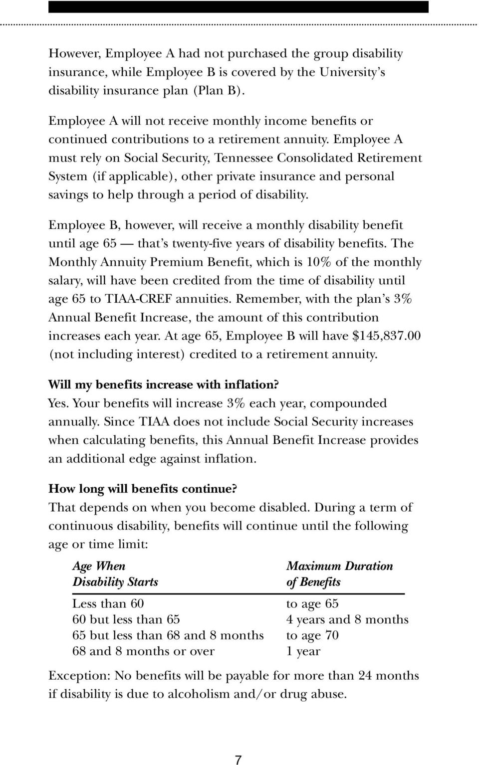 Employee A must rely on Social Security, Tennessee Consolidated Retirement System (if applicable), other private insurance and personal savings to help through a period of disability.