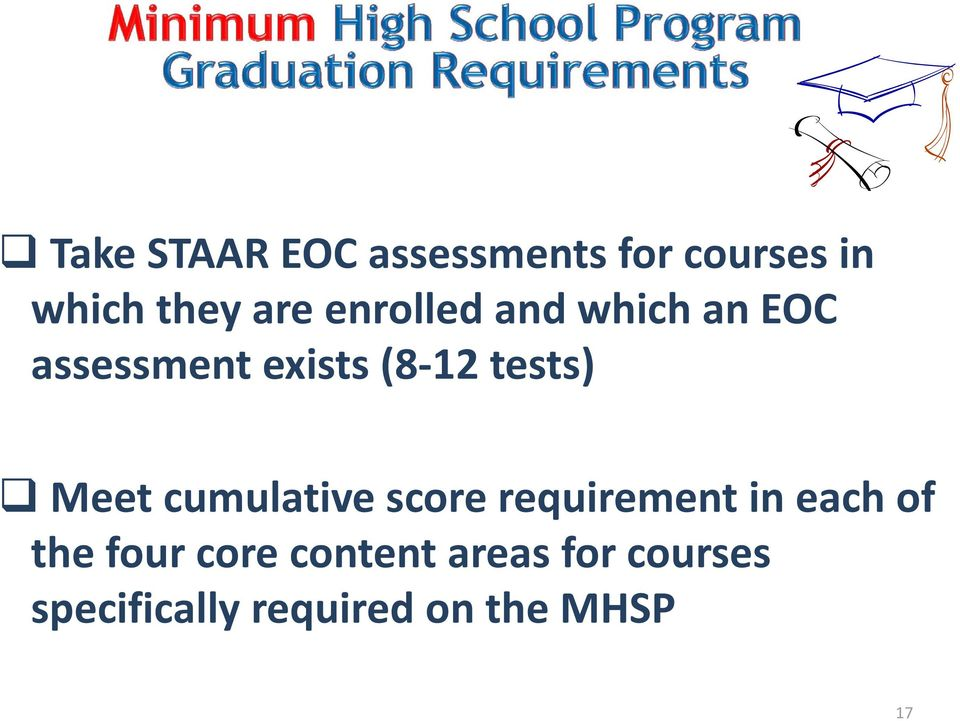 Meet cumulative score requirement in each of the four core