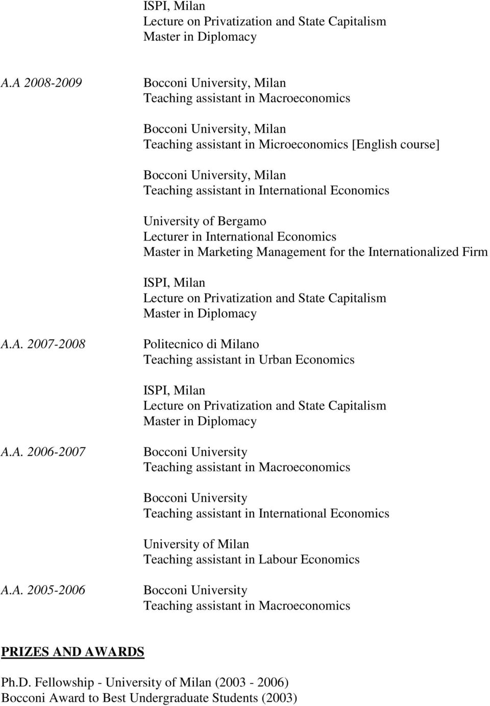 Economics Master in Marketing Management for the Internationalized Firm A. 2007-2008 Politecnico di Milano Teaching assistant in Urban Economics A.