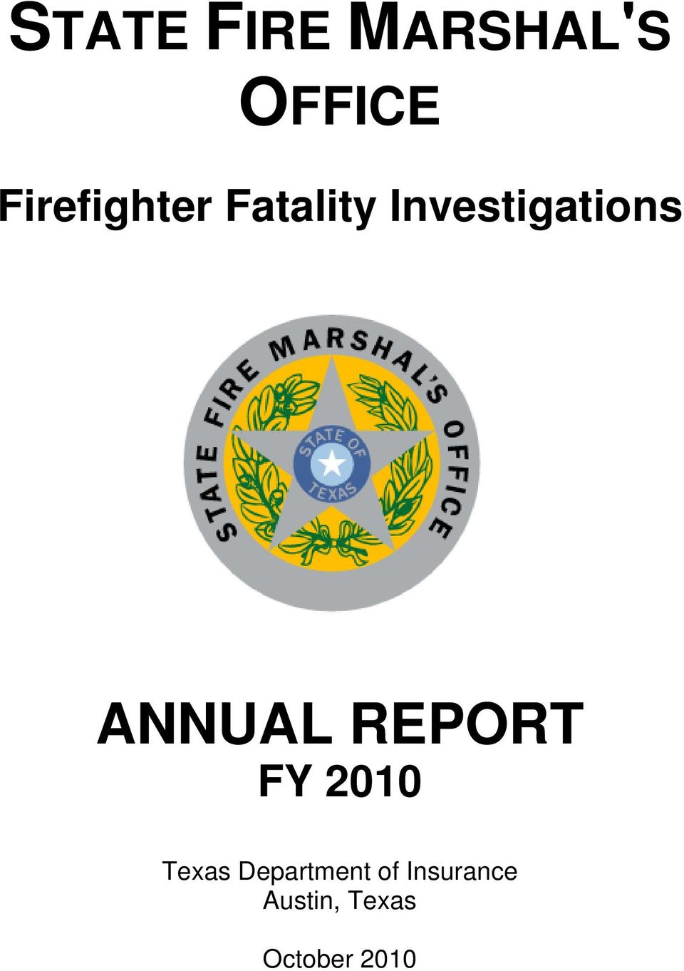 ANNUAL REPORT FY 2010 Texas