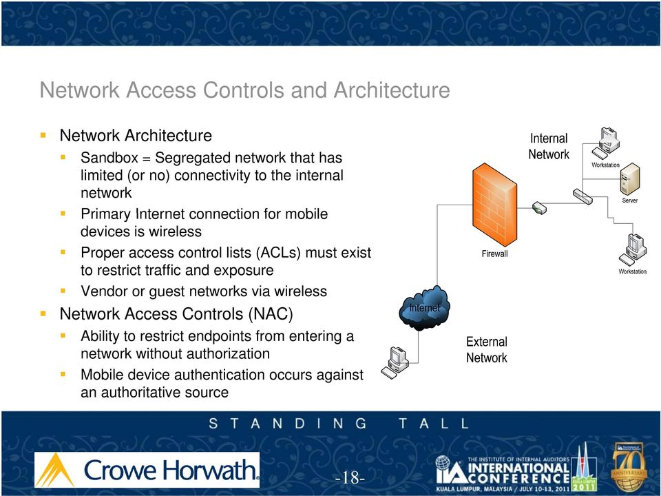 (ACLs) must exist to restrict traffic and exposure Vendor or guest networks via wireless Network Access Controls (NAC) Ability