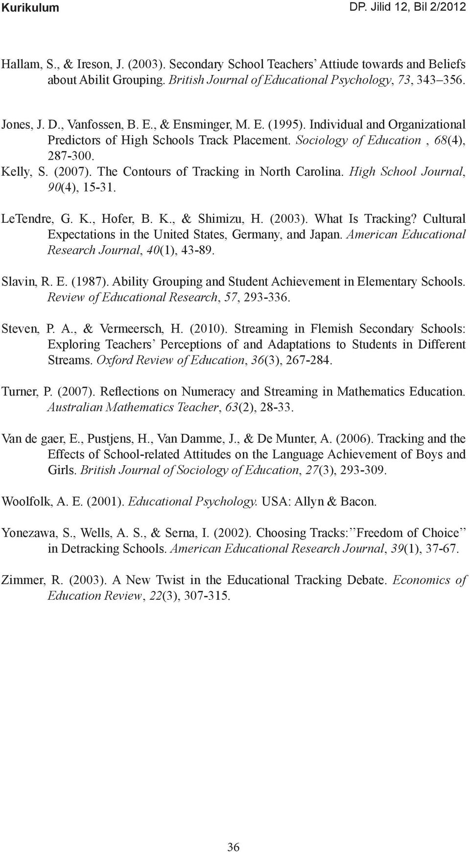 High School Journal, 90(4), 15-31. LeTendre, G. K., Hofer, B. K., & Shimizu, H. (2003). What Is Tracking? Cultural Expectations in the United States, Germany, and Japan.