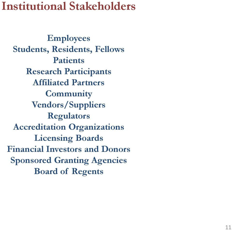 Vendors/Suppliers Regulators Accreditation Organizations Licensing